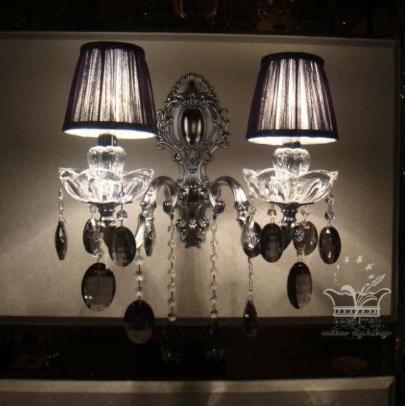 Silver black gauze screen smoky grey fashion quality chrome sand wall lamp entranceway crystal lighting lamps(China (Mainland))