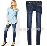 MISS COCO 2014 Spring New Hot Vintage Concise Chaining Good Shape Skinny Denim Pencil Jeans for Ladies Women Free Shipping
