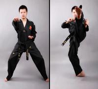 Black taekwondo suit coach service thaiquan myfi De-Forest net Taekwondo & Karate taekwondo clothes belt