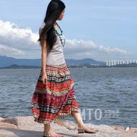 2013 spring and autumn summer bohemia dress linen skirt linen full dress expansion skirt l024 -