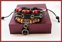 Genuine Leather Bracelet Beaded Star Country One O'clock Mahogany Jewelry