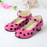2014 princess shoes girls soft leather female single shoes leather children dance shoes polka dot girls shose Rose/Wine Red