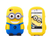 Silicon case  Yellow Minion Black and Blue eyebrow silicon Despicable Me minions case for iphone 4 5