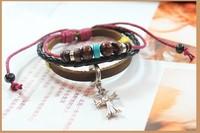 Leather Export European Style Bracelets Christian Cross Jewelry