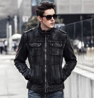 DM053 Autumn and winter men's clothing plus velvet male  denim jacket outerwear slim jean coat water wash cowboy