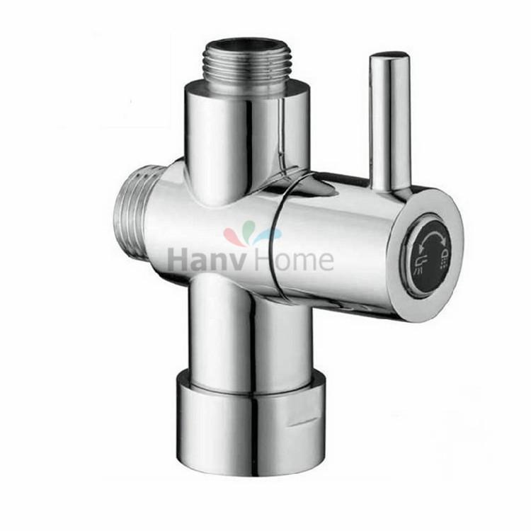 G3/4'' & G1/2'' Copper Chrome Toilet Brathroom Shower Water Separator Diverter Valve Core T-adapter For Bidet Sprayer Jet(China (Mainland))