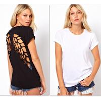 Fashion T shirt for Women Laser Backless Angel Wings Women's White Black Shorts Tops & Tees T-Shirt Autumn-Summer