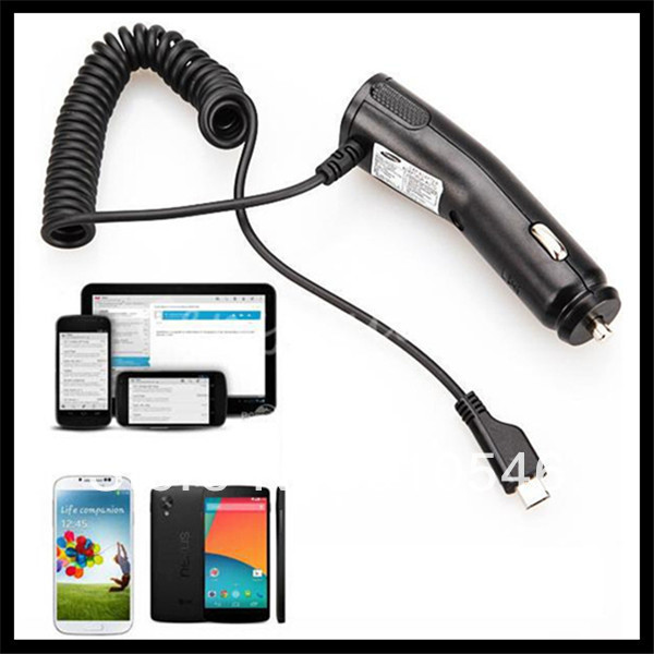 Free Shipping 1Pcs 2A Micro USB 5-pin Vehicle Car Charger With Cable For Samsung Galaxy S2 S3 S4 I9300 I9500 Handset(China (Mainland))