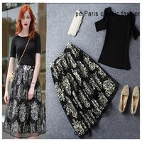 2014 spring and summer new arrival twinset slim short-sleeve T-shirt print medium skirt casual dress gentlewomen set