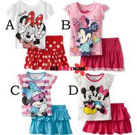 [1st baby mall]Retail 1set cartoon Minnie summer suits for girls new 2014 girls clothes children's t shirt girl TUTU skirt ST118