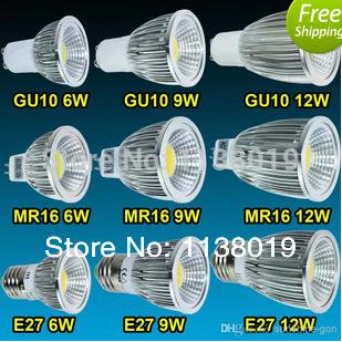 Светодиодная лампа Oem 1pcs/lot CREE MR16/GU10/E27 6W/9W/12W 85/265 GU10 1pcs gu10 mr16 smd2835 led bulb e27 220v 230v spotlight 4w 6w 8w 48leds 60leds 80leds spot light cree bulb