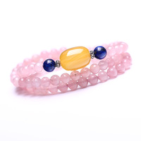 Natural pink crystal bracelet 6mm multi-layer fashion accessories peach blossom
