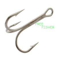 100 pcs silver color 0.8cm high carbon steel fishing hooks treble 3551 18# O'shaughnessy triple Hooks