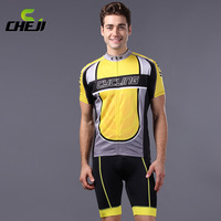 Good 2014 Legend Yellow Cheji Cycling Wear Short sleeve jersey bib shorts  Set  Good Quality  Mens Outdoor Bicycle Clothing