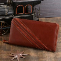 8024B 2014 New Brand Hot Sale Fashion Genuine Leather Brown Unisex Wallets Clutch Purses Key Case Free Shipping