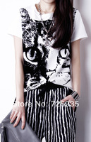 Summer new European style big yards T-shirt printing cat loose round neck short sleeve female T-shirt