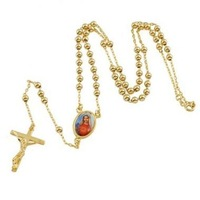 "Lucky 9K Gold Filled Rosary Pray Bead Blessed Mary Cross Necklace 23"",14C0376"