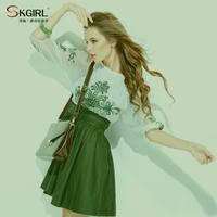 2014 slim embroidery half sleeve one-piece dress vintage fashion chiffon patchwork elegant girl party dress