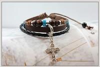 Jesus On The Cross Handmade Beaded Shamballa Cross Bracelet