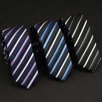 Free Shipping 100% Polyester Men's 5 CM Black and White Striped Skinny Neck Ties Fashion Boy's Ties NE010