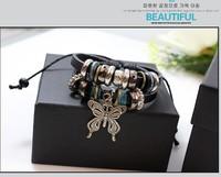 Beaded Jewelry Braided Leather Butterfly Love Bracelet