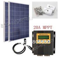 Eu stock *  ECO COMPLETE KIT: 200W 2x 100W PV Solar Panel for 12V 24V RV Boat solar system,free shipping *