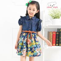 free shipping  children's clothing 2014 female child one-piece dress child denim dress child patchwork dress