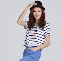 2014 summer fashion navy style stripe o-neck embroidered women's short-sleeve t-shirt
