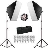Photography Studio Soft Box Continuous Light Kit 45W 5500K Continuous Video Lighting 50cmx70cm Softbox Light Stand P0012991