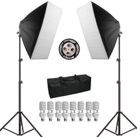 Photography Studio Soft Box Continuous Light Kit 45W 5500K Continuous Video Lighting 50cmx70cm Softbox Light Stand P0012991