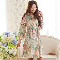 New arrival summer women's sleepwear , lacing 100% woven cotton nightgown elegant sweet