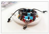 Three Beaded Leather Bracelet Cat's Eye Beads Transit Jewelry