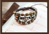 Braided Leather Bracelet Beaded Bohemian Retro Jewelry