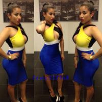 Women New Hot Sexy Bodycon Dress Backless Lady Sleeveless Party Bandage Dress Blue Rose M L XL 814