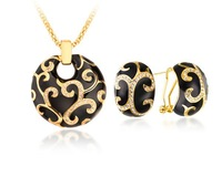 Crystal & Black Enamel Stud Earrings & Pendant Necklace Set Retro-chic Design Gold Plated Dress Banquet Women Jewelry TAZ04791BL