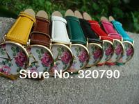 2014 / New Fashion Leather Rose Flower Watch For Women Dress Watch Quartz Watches