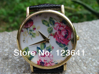 New 2014 Fashion Leather Geneva Rose Flower Watch For Women Dress Watch Quartz Watches 1pcs/lot Free Shipping