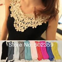 Spring daisy flower petal lace cutout crochet patchwork vest basic cotton shirt