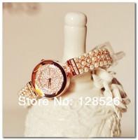 Women Rhinestone Watches 2014  Ladies Dress Watches Diamond Girls Luxury Watches Female Watch Pearl Rose Gold Watches010