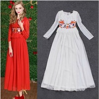 2014 spring and summer sweet temperament long-sleeved lace embroidered long dress the same as stars styles 3 colors