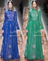 2014 European and American women's long-sleeved lace dress catwalk models styles lapel elegant dress party dress
