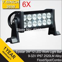 "6 PCS 7.5"" Inch 36W LED Work Drive Light Bar IP67 12V 24V For JEEP TRUCK TRAILER OFFROAD 4WD ATV 4X4 BOAT SUV FLOOD SPOT COMBO"