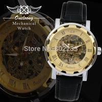 Fashion Black Leather Strap Stainless Steel case Skeleton watch  Men Wrisrwatch Men Mechanical Hand Wind Watches Free Shipping