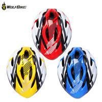 WOLFBIKE Bicycle Bike Cycling Adult Men Women Carbon Helmet BMX MTB Road Hero Helmet 19 Holes Visor Size 54-64cm Yellow Blue Red