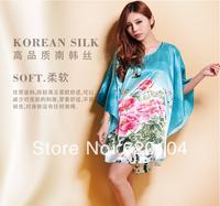 Summer maternity women's silk nightgown mm plus size nightgown plus size plus size lounge silk sleepwear
