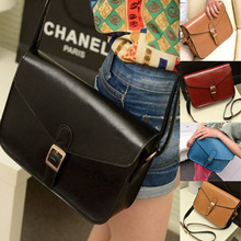 Women Girl Retro Messenger Faux Leather Bags Candy Color Single Shoulder Handbag Free shipping & Drop shipping(China (Mainland))