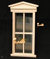 iland Dollhouse Miniature Wooden 4 Lattice Unvarnished Big Window With trim OA010C