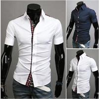 Free Shipping New 2014 Spring Mens Fashion Dress Shirts Plaid Hit Color Slim Short-sleeved Shirts 4 Colors A8684