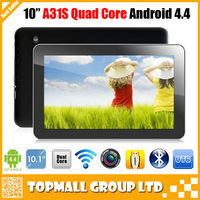 Cheapest New Arrival 10 inch A31s Quad Core 1GB RAM 16GB ROM Dual Cameras 1024*600 Capacitive Tablets PC DHL Free Shipping