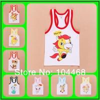 2014 Fashion 12 Zodiac  boys baby girl clothing child 100% cotton vest baby summer cartoon animal t-shirt  Children T-shirt